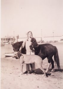 Annette Johnston & Charming (pony), Louie (poodle) & Kangaroo dog (1960)