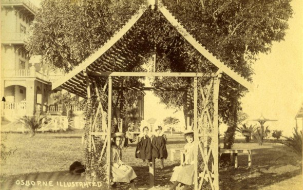 Children under the pergola in the Osborne Hotel gardens (1898)