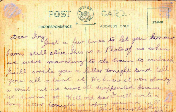 Postcard from Alf Smith to his sweetheart Ivy Gunn from the 11th Battalion training camp at Blackboy Hill, late 1914.