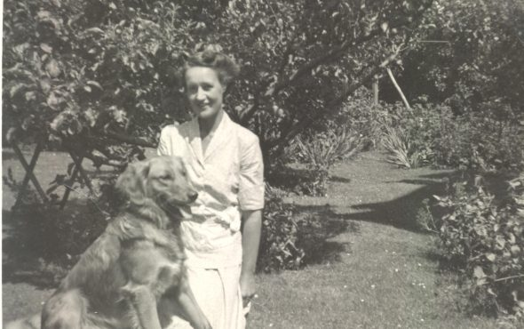Ruth Lefroy and her dog Christopher at 16 Reserve Street, Claremont. (1940s)